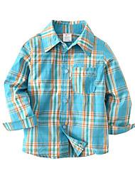 preiswerte -Kinder Baby Jungen Einfarbig Schachbrett Langarm Hemd