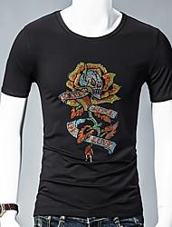 billige -mænds t-shirt - blomstret rundt hals