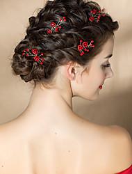 Недорогие -Тюль / Сплав Зажим для волос / Прически с Цветы 2шт Свадьба / Особые случаи Заставка
