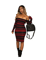 cheap -Women's Holiday Basic / Street chic Cotton Skinny Bodycon Dress - Striped Strapless / Off Shoulder / Boat Neck / Summer / Fall
