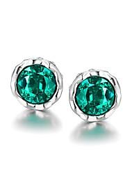 baratos -Mulheres Flor Brincos Curtos / Com caixa de presente - Fashion Roxo / Verde Formato Circular Brincos Para Casamento / Diário