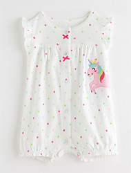cheap -Baby Girls' Basic Solid Colored / Polka Dot Short sleeves Cotton Romper
