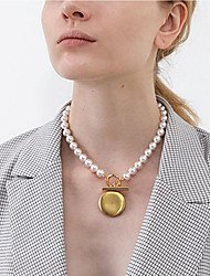 cheap -Women's Pearl Lariat Pendant Necklace / Lockets Necklace / Pearl Strands - Pearl, Gold Plated Friends Korean, Fashion Gold 42.5 cm Necklace For Gift, Daily