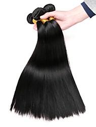 Недорогие -4 Связки Евро-Азиатские волосы Прямой Натуральные волосы Человека ткет Волосы / Накладки из натуральных волос Ткет человеческих волос Удлинитель / Горячая распродажа Естественный цвет