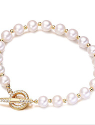 cheap -Women's Cubic Zirconia / Freshwater Pearl Strand Bracelet - Gold Plated, Freshwater Pearl Simple, Korean, Fashion Bracelet Gold For Gift / Daily