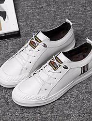 preiswerte -Herrn Leder Herbst Komfort Sneakers Weiß / Schwarz