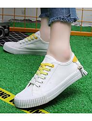 abordables -Femme Chaussures Toile Printemps / Automne Confort Basket Talon Plat Noir / Blanc et vert / Blanc / Jaune