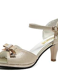 Недорогие -Жен. Обувь Полиуретан Лето Удобная обувь Сандалии На толстом каблуке Открытый мыс Пряжки Золотой / Белый / Розовый