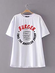 billige -Dame - Ensfarvet Trykt mønster Punk & gotisk / Gade T-shirt
