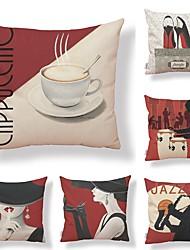 baratos -6 pçs Téxtil / Algodão / Linho Fronha, Art Deco / Moderno / Estampado Geométrico / Forma Quadrada