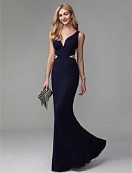 cheap -Mermaid / Trumpet V Neck Floor Length Spandex Prom / Formal Evening Dress with Pleats by TS Couture® / Beautiful Back