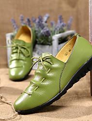 Недорогие -Жен. Обувь Кожа Весна Лето Мокасины На плокой подошве На плоской подошве для Белый Черный Оранжевый Зеленый Синий