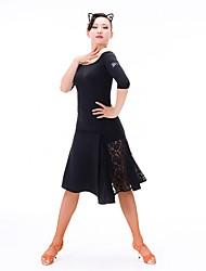 abordables -Danse latine Robes Femme Entraînement Chinlon / Dentelle / Fibre de Lait Dentelle Robe