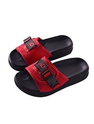 baratos -Para Meninas Sapatos Tecido Verão Conforto Chinelos e flip-flops Presilha para Ao ar livre Preto Vermelho