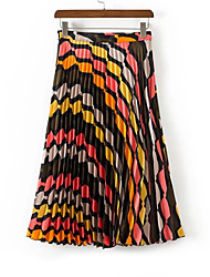 baratos -Mulheres Básico Balanço Saias - Geométrica / Estampa Colorida Pregueado / Estampado Cintura Alta