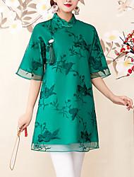 abordables -Mujer Vintage Bordado Camisa Floral