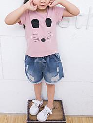 Недорогие -Дети Девочки С принтом С короткими рукавами Футболка