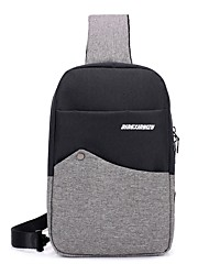 baratos -Unisexo Bolsas Algodão / Poliéster Sling sacos de ombro Ziper Rosa / Cinzento Escuro / Cinzento Claro