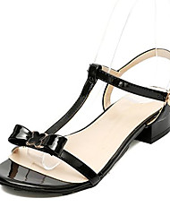 cheap -Women's Shoes PU Summer Comfort Sandals Block Heel Peep Toe Buckle for White Black Red