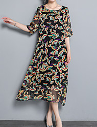 cheap -Women's Boho / Sophisticated A Line Dress - Floral Print
