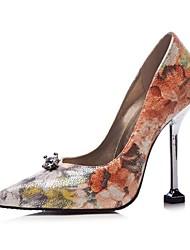 abordables -Femme Chaussures Similicuir Printemps été Escarpin Basique Chaussures à Talons Marche Talon Aiguille Bout pointu Argent / Arc-en-ciel