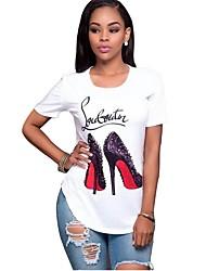 abordables -Mujer Algodón Camiseta Geométrico