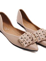 abordables -Femme Chaussures Polyuréthane Printemps été Confort Ballerines Talon Plat pour De plein air Noir / Rose