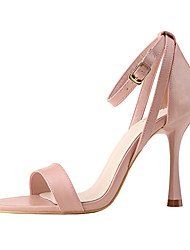abordables -Femme Chaussures Polyuréthane Eté Escarpin Basique Sandales Talon Aiguille Bout ouvert Boucle Marron / Rose dragée clair / Kaki