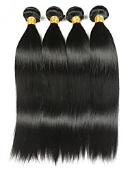 cheap -Indian Hair Straight Natural Color Hair Weaves / Human Hair Extensions 4 Bundles Human Hair Weaves Best Quality / Hot Sale / For Black Women Natural Black Human Hair Extensions Women's
