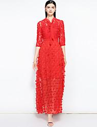 Недорогие -Жен. Уличный стиль / Шинуазери (китайский стиль) С летящей юбкой Платье - Однотонный Макси