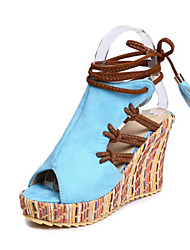 cheap -Women's Shoes Nubuck leather Spring & Summer Comfort / Novelty Sandals Wedge Heel Peep Toe Tassel Orange / Beige / Blue / Party & Evening