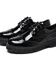 Недорогие -Жен. Обувь Искусственное волокно / Тюль Весна Удобная обувь Туфли на шнуровке На плоской подошве Черный