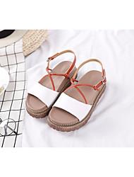 cheap -Women's Shoes Cowhide Summer Comfort / Gladiator Sandals Flat Heel White / Pink / Almond