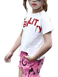 Недорогие -Дети Девочки Однотонный С короткими рукавами Футболка