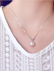 cheap -Women's Pearl / Freshwater Pearl Pendant Necklace - Pearl, Stainless Steel, S925 Sterling Silver Fashion White 45 cm Necklace For Gift, Daily