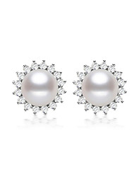 cheap -Women's Stud Earrings - S925 Sterling Silver, Freshwater Pearl Flower Classic, Natural, Elegant Silver For Party / Gift