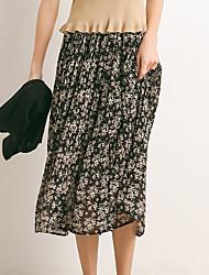 abordables -Mujer Básico Línea A Faldas Floral