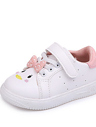 cheap -Girls' Shoes Polyester Spring & Fall Comfort / Flower Girl Shoes Flats Walking Shoes Magic Tape for Kids White / Black / Light Pink
