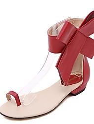 baratos -Mulheres Sapatos Couro Ecológico Verão Shoe transparente Sandálias Sem Salto Peep Toe Laço Preto / Vermelho / Amêndoa
