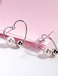 cheap -Women's Pearl / Freshwater Pearl Stud Earrings - S925 Sterling Silver, Freshwater Pearl Heart Korean, Sweet, Fashion Silver For Party / Date