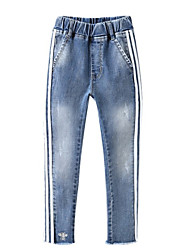 preiswerte -Kinder / Baby Mädchen Grundlegend Blau & Weiß Patchwork Patchwork Baumwolle Hose