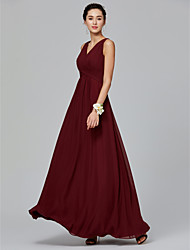 cheap -A-Line V Neck Floor Length Chiffon Bridesmaid Dress with Side Draping / Criss Cross by LAN TING BRIDE®