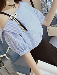 billige -Dame - Stribet Kvast Basale T-shirt