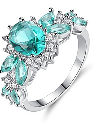 cheap -Women's Turquoise / Crystal / Cubic Zirconia Band Ring / Engagement Ring - Sterling Silver Vintage, Elegant 6 / 7 / 8 Turquoise For Wedding / Engagement / Ceremony