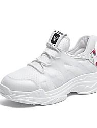 Недорогие -Жен. Обувь Искусственное волокно Весна Удобная обувь Спортивная обувь На плоской подошве Круглый носок Белый / Черный