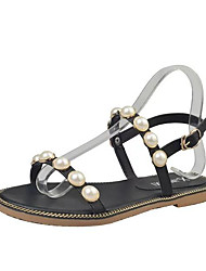 cheap -Women's Shoes PU Summer Comfort Sandals Flat Heel Open Toe Imitation Pearl for Outdoor Black / Green / Pink