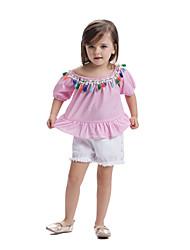 preiswerte -Kinder Baby Mädchen Gestreift Einfarbig Kurzarm T-Shirt