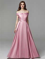 cheap -A-Line Off Shoulder Floor Length Chiffon / Satin Prom / Formal Evening Dress with Bow(s) / Embroidery by TS Couture®