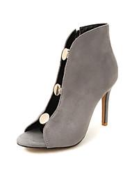 preiswerte -Damen Schuhe Beflockung Frühling Sommer Pumps High Heels Stöckelabsatz Offene Spitze für Büro & Karriere Party & Festivität Schwarz Grau