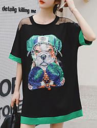 baratos -Mulheres Tamanhos Grandes Básico Algodão Solto Camiseta Vestido - Paetês / Patchwork / Estampado, Animal Acima do Joelho / Verão